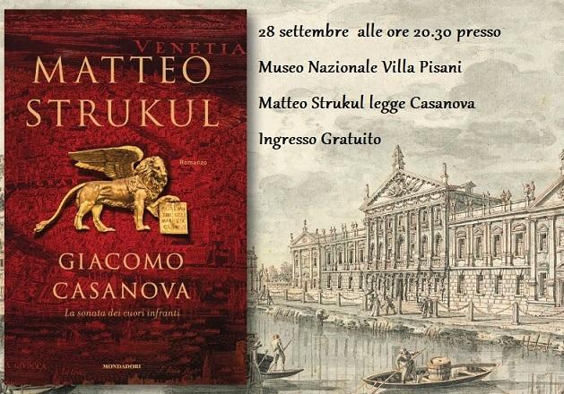 """""""Matteo Strukul legge Casanova"""" Museo Nazionale Villa Pisani 28 settembre"""